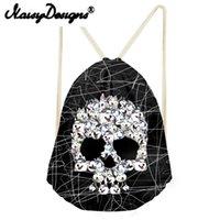 ingrosso zaini del cranio per i ragazzi-NOISYDESIGNS Cool Punk Skull Printing da uomo con coulisse Zaino Tote String Shoulder per adolescenti Ragazzi Harajuku borse