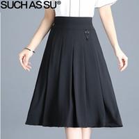 db20b55daa SUCH AS SU Summer Fall Knitting Skirts Womens 2018 New Black Elastic High  Waist Pleated Skirt S-3XL Office Lady Mid Long Skirt