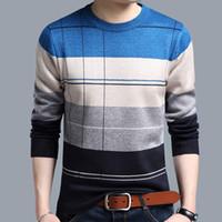 crochet masculino venda por atacado-Camisolas de Pulôver de Algodão dos homens Sociais Fino Casuais Crocheted Listrado Camisola De Malha Dos Homens Masculino Jersey Roupas Novo