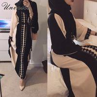 quimono aberto venda por atacado-Abra o Abaya Muçulmano Vestido Elegante Coten Laço de Linho Cardigan Robe Longo Kimono Jubah Ramadan Turco Árabe Islâmico Oração Roupas