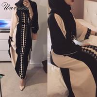 motifs de broderie modernes achat en gros de-Musulman Ouvert Abaya Robe Élégant Cotten Lin Dentelle Cardigan Longue Robe Kimono Jubah Ramadan Arabe Turc Islamique Vêtements De Prière