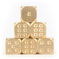 New 13X13X13mm 15X15X15mm Copper Polyhedral Metal Solid Heavy Dice Playing Game Golden Pure Color Dices Gambing Dices