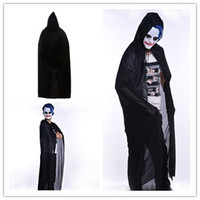 Wholesale witch cape black - 2018 new wizard witch cape for men and women black death cloak Masquerade Cosplay ball Halloween Costume Party