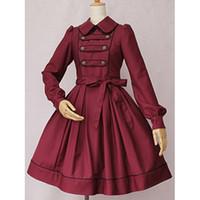 lolita cosplay mavi toptan satış-Cosplay Gotik Vintage Lolita Peri Masalı Derin Mavi Prenses