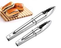 ferramenta de design de alimentos venda por atacado-Hot 1 Peça 9 polegada Tongs CHURRASCO Silicone Cover Handle Pinças de Cozinha Design de Bloqueio Churrasco Clipe Braçadeira de Aço Inoxidável Food Tongs ferramenta de churrasco