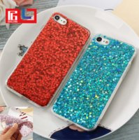 Wholesale Bling Rubber Iphone Cases - Bling Glitter Rubber Soft TPU Glossy Clear Frame Phone Case Cover Shell For iPhone 6 6S 7 Plus