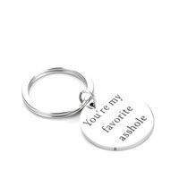 Wholesale favorite rings - Funny Boyfriend Gift You're My Favorite Asshole Keychain Men Key Ring I love You Valentines day Keyring Gifts for Husband drop ship 340035
