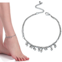 Wholesale ankle bells - New Women Gril Tassel Chain Bells Sound silver Metal Chain Anklet Ankle Bracelet Foot Chain Jewelry Beach Anklet drop ship 320131