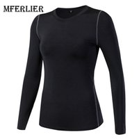 Wholesale fitness professional shirts - Mferlier Solid Breathable Professional Yoga Top Long Sleeve Workout Fitness Top Women Elastic Seamless Yoga Shirt
