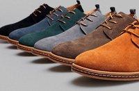 mens soyunma ipuçları toptan satış-Erkek Rahat Elbise Resmi Oxfords Ayakkabı Kanat İpucu Süet Deri Flats Lace Up Büyük Boy Ayakkabı İngiliz Moda Parti Elbise Ayakkabı Ücretsiz Kargo
