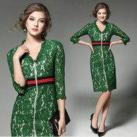 Wholesale Long Sleeve Lace Bodycon Dress - V Neck Sexy Green Lace Dress Women 2018 Spring New T Taiwan Runway Long Sleeve Front Zipper Dress Fashion Vintage Plus Size 2XL