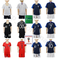 Wholesale boys youth shirts - Youth Soccer Jersey 2018 World Cup Kids Set 7 GRIEZMANN 6 POGBA 10 MBAPPE MATUIDI Hugo Lloris Goalkeeper Football Shirt Kits With Short