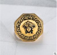 Wholesale black rings for women - AAAAA classic Mens Ring Medusa ring Head Gold Color Black Male Finger Ring For Men Women Size 7-12
