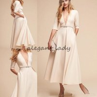 Wholesale Sexy Deep Slit Skirt - BHLDN 2018 Ivory A line Wedding Dresses Deep V Neck Half Sleeves Elegant Boho Bridal Gowns Long Ankle Length Beach Wedding Dresses