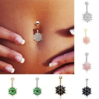 Wholesale Hot Sale Green Pink White Black Purple Flower Crystal Navel Rings Gold Belly Button Ring Stainless Steel Navel Piercing Jewelry