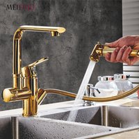 Wholesale single handle kitchen faucet chrome online - Gold kitchen faucets brass with Two Spouts Pull Out Spray Chrome Brass Kitchen Faucet Mixer Tap Sink Single Handle swivel