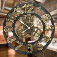 ingrosso grande orologio in legno-3D Retro Decorative Luxury Art Big Gear in legno Vintage grande orologio da parete per regalo Home Decor 16/20 pollici
