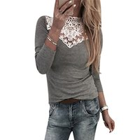women s long sleeve tee shirts lace Australia - White Lace Neck Patchwork Tunic Tops For Women 2018 Summer Long Sleeve Cotton Blouse Slim Fit Ladies Causal Tee Shirts Femme