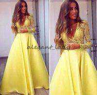 amarelo abaya venda por atacado-Elegante Amarelo Dubai Abaya Mangas Compridas Vestidos de Noite Mergulhando V neck Vestidos de Renda Desgaste da Noite Zuhair Murad Prom Party Vestidos