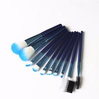 Wholesale makeup brush sets for sale resale online - Hot sales Beauty Blue Hot Makeup brush Set Eyeshadow custom cosmetic Make Up for Life brushes dhl