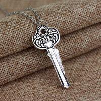 Wholesale 221b key necklace resale online - Movie Detective Sherlock Holmes Key Necklace Room B Baker Street Key Necklace Vintage Antique Silver And Bronze Pendant For Fans