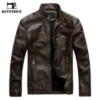 Wholesale Jaqueta Couro Masculino - Wholesale- Kenntrice Old School Style Winter Leather Jacket Men Jaqueta Couro Masculino Bomber Biker Leather Jackets Men's Leather Coat