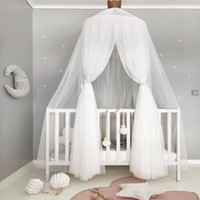 Wholesale pink princess beds online - Pink Gray White Baby Girls Princess Bed Valance Mosquito Net For Toddler Crib Canopy Infant Baby Cot Bed Accessories Set