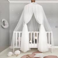 rosa graue bettwäsche-sets großhandel-Rosa Grau Weiß Baby Mädchen Prinzessin Bett Volant Moskitonetz Für Kleinkind Kinderbett Baldachin Infant Babybett Bett Zubehör Set