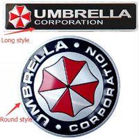 şemsiye rozeti toptan satış-Araba Styling 3D Alüminyum Alaşım Umbrella Corporation, Araba Çıkartmaları Resident Evil Çıkartmaları Amblem Süslemeleri Rozet Oto Aksesuarları