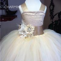 Wholesale host model - Girl Wedding Dress Champagne Back Bandage Design Bow Design TUTU Skirt Show Host Birthday Dress Flower Girl Dress