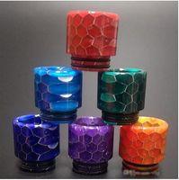 Wholesale big ecig - 810 Honeycomb Drip Tips Snake Skin Epoxy Resin Drip Tip Colorful Wild Cobra Mouthpiece For TFV8 TFV12 TFV12 Big Baby Ecig Accessories