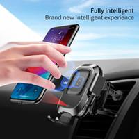 steckdose ladegerät großhandel-Baseus Luftauslass Auto Wireless Charger Für iPhone Xs Max XR X Samsung Intelligente Infrarot Sensor Schnelle Wirless Lade Auto Handyhalter