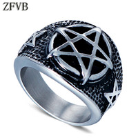 подарки из полированной нержавеющей стали оптовых-ZFVB Classic Pentagram Ring Men 316L Stainless Steel Silver colour High Polished Vintage Army Mens Punk Ring Jewelry Party Gift