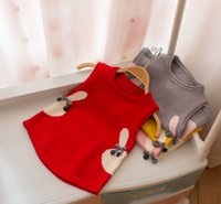 Wholesale knitted rabbit vest online - Little girls sweater vest kids cute rabbit waistcoat children lace up Bows tie cartoon bunny knitted sweater autumn kids clothing Y9152