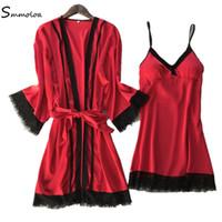 15df716bbb0 ... Robes+Gown Sets Sexy Lace Sleepwear Silk Satin Sleepwear Set. 37% Off