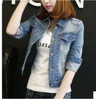frauen s feminine kleidung großhandel-Herbst Frauen Mäntel 2018 Denim Jacken für Frauen Vintage Langarm regelmäßige weibliche weibliche Jacken Jeans Mantel Outwear Kleidung