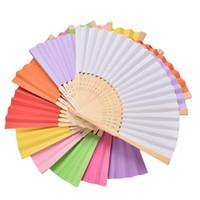 ingrosso pieghevole disegno del ventilatore-300pcs logo personalizzato bomboniere regalo fai da te fan di carta pieghevole fan mano artigianale ventilatore con costole di bambù colore della caramella ventilatore disegno vuoto