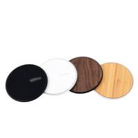 зарядное устройство для автомобильных телефонов оптовых-Деревянные беспроводные зарядные устройства для всех устройств Android-черный белый iPhone Sumsung Qi Fast Walnut Bamboo PC круглая форма сотовый телефон Pad OTH862