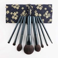 Wholesale plastic bags handles free shipping resale online - High Quality Birch Handle Makeup Brush Set With Flower Cloth Bag fashion makeup brushs plastic handle dhl