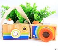 simulador de juguete al por mayor-Venta caliente - Rainbow Children Wooden Simulator Camera Kaleidoscope Navidad Juguetes de viaje para niños Baby Wood Camera Regalos de cumpleaños
