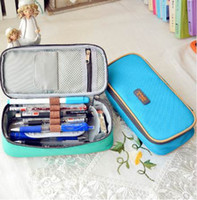 Wholesale bag school girl korea resale online - Korea Multifunction School Pencil Case Bags Large Capacity Canvas Pen Curtain Box for Boy Girl Kids Gift Stationery Supplies