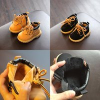 Wholesale thick heel boot shoes online - Baby Short Matin Boots Boys Girls Keep Warm Yellow Black First Walkers Toddler Thin Thick Zipper Infant Sports Solid Low heeled Shoes Winter