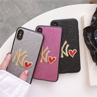 capas bling para telefones celulares venda por atacado-Moda Glitter Casos para iPhone X 8 7 plus Carta Bordado Amor Bling Bling Celular Protector Capa