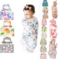 kinderbettwäsche setzt auf unisex großhandel-15 Arten Kinder Musselin Swaddles Ins Wraps Decken Kinderzimmer Bettwäsche Neugeborenen Bio-Baumwolle Ins Blumendruck Swaddle + Stirnband zweiteilige Sets