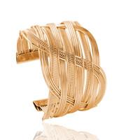 8a1c38239125 FU Nueva Llegada Aleación de Zinc Material Oro y Plateado Cruzado Brazalete  Abierto de Moda Elegante Cruzada para Mujeres