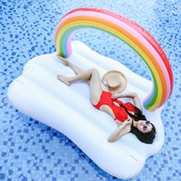 Wholesale floating bridge - Rainbow Bridge Cloud Inflatable Floating Row Thickening Summer Outdoor Beach Swimming Pool Ring For Adults and Kids Universal Hot NNA89