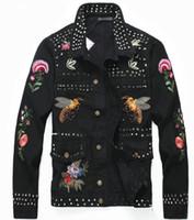 ingrosso migliori giacche da uomo-La migliore vendita di nuovi uomini giacca di jeans nero personalità personalità ricamo multi-punk giacca locomotiva moda casual da uomo Slim long-sl