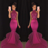 Wholesale Girls Lace Back Top - 2K 17 Mermaid 2018 Top Selling Beaded Prom Dresses Sexy Backless Satin Formal Evening Gowns High Collar Girls Pageant Dress
