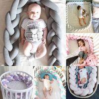 pára-choques de bebê para berços venda por atacado-Lindo Bebê Macio Nó Travesseiro Trançado Berço Bumper Decorativo Almofada De Cama decoração