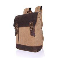 Wholesale retro school bags resale online - 5 Color Retro Canvas Leather Backpack Outdoor Camping Hiking Travel Shoulder Bag Vintage Rucksack School Bag Satchel
